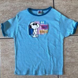 Peanuts Snoopy blue stripes t-shirt